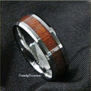 Jewelry - Solid Titanium Rich Cherry Wood Inlay Comfort Ring